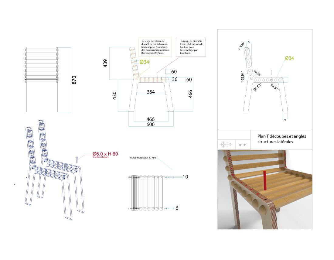 Détails et plan de la Chaise SYM pour l'assise