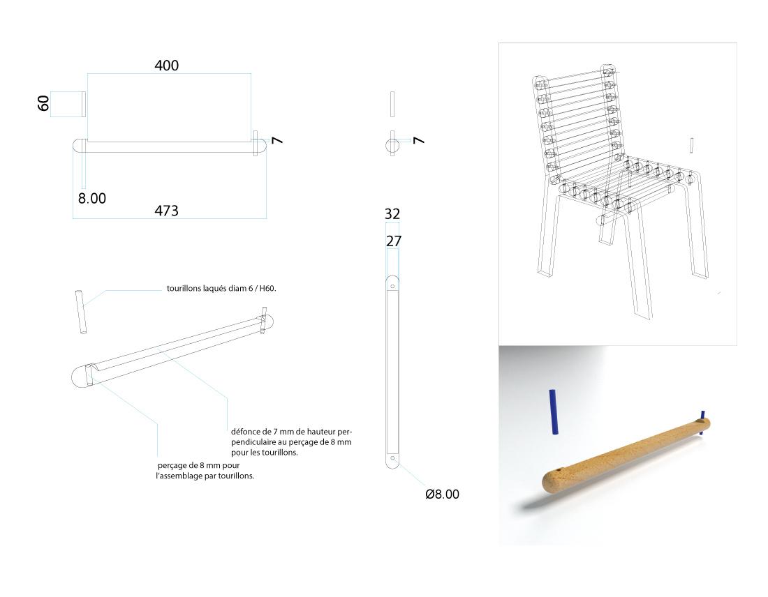 Détails et plan de la Chaise SYM pour le baton
