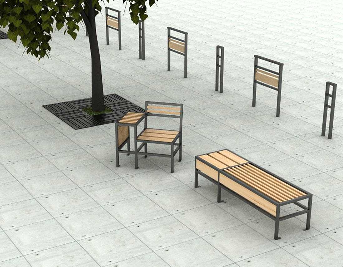 mise en situation du mobilier design extérieur gamme geometrik
