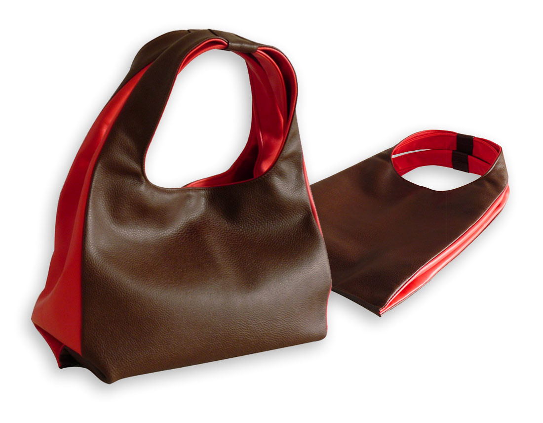 sacs en cuir marron et rouge
