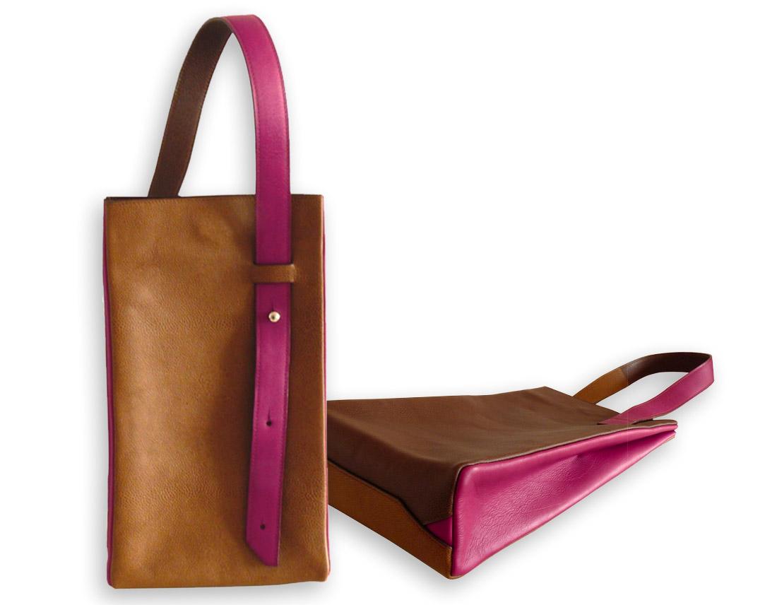sacs en cuir marron et violet